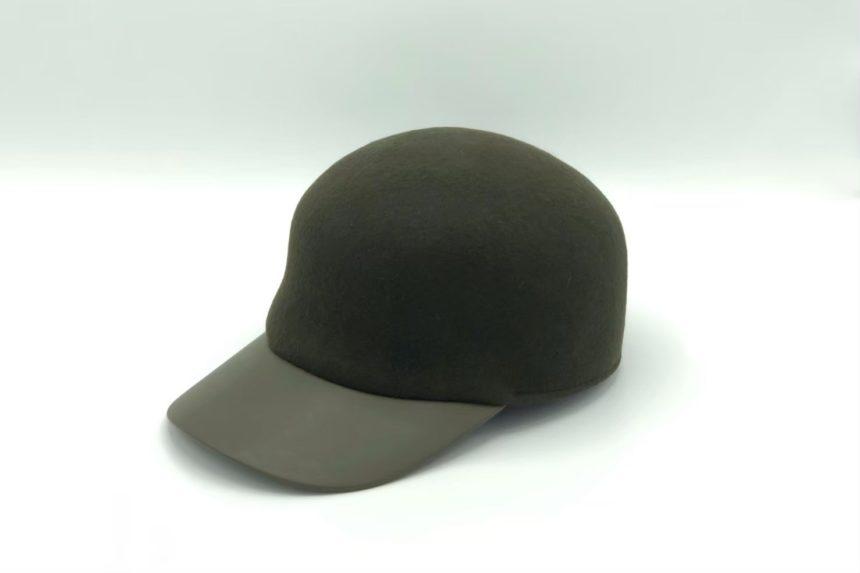 felt×leather cap(khaki)